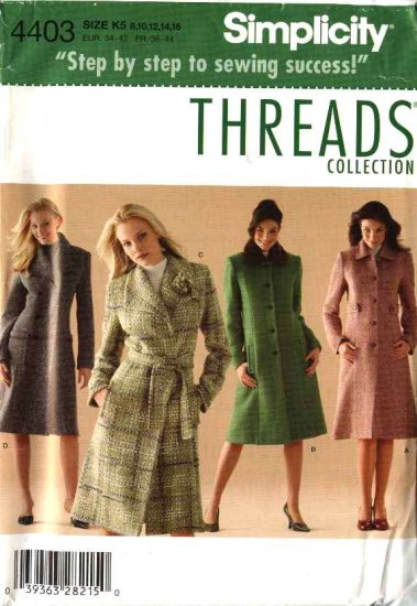 Simplicity Sewing Pattern 4403 Misses Size 16-24 Lined Winter Coats Threads Magazine Collection