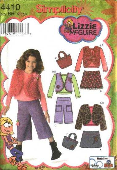 Simplicity Sewing Pattern 4410 Girls Size 5-8 Wardrobe Skirt Pants Vest Jacket Purse Knit Top