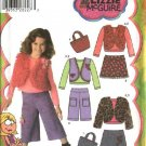 Simplicity Sewing Pattern 4410 Girls Size 5-8 Wardrobe Skirt Pants Vest Jacket Purse Knit Top