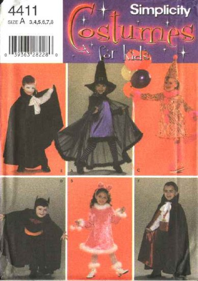 Simplicity Sewing Pattern 4411 Boys Girls Childrens Size 3-8 Costumes Witch Batman Vampire Clown Cat
