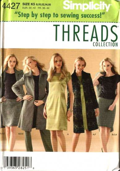 Simplicity Sewing Pattern 4427 Misses Size 8-16 Wardrobe Pants Dress Top Skirt Coat Threads