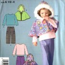 Simplicity Sewing Pattern 4436 Toddler Girls Size ½-1-2-3-4 Pants Hooded Capelet Knit Top