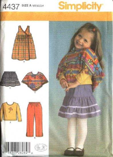 Simplicity Sewing Pattern 4437 Toddler Girls Size ½-1-2-3-4 Wardrobe Jumper Skirt Top Pants Poncho