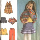 Simplicity Sewing Pattern 4437 Toddler Girls Size ½-1-2-3-4 Wardrobe Jumper Skirt Top Pants Poncho
