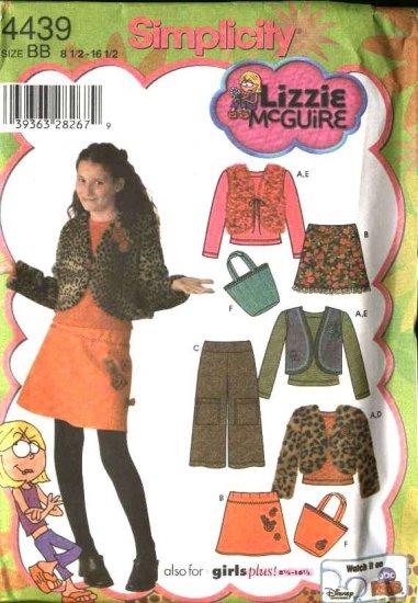 Simplicity Sewing Pattern 4439 Girls Plus Size 8½-16½ Mini-Skirt Vest Top Cropped Pants Jacket Bag