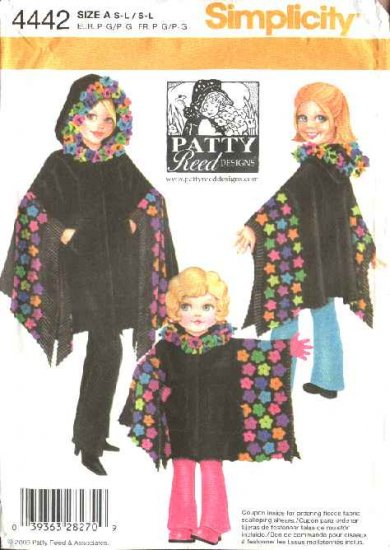 Simplicity Sewing Pattern 4442 Girls Size 4-14 Misses Size 10-20 Hooded  Ponchos Patty Reed