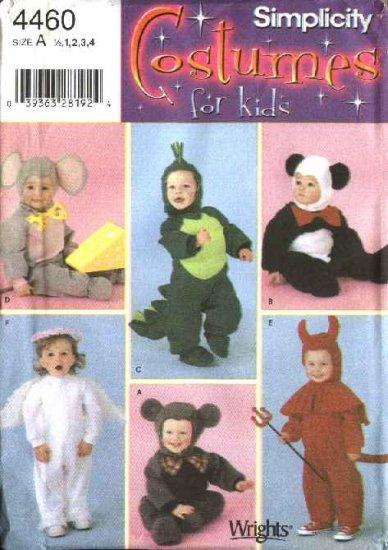 Simplicity Sewing Pattern 4460 Toddlers Boys Girls Size ½-4 Costumes Bear Dinosaur Mouse Panda