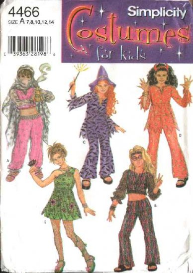 Simplicity Sewing Pattern 4466 Girls Size 7-14 Girls' Costumes Belly Dancer Garden Fairy Beatnik