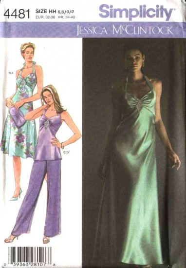Simplicity Sewing Pattern 4481 Misses Size 6-12 Formal Bias Evening Gown Dress Tunic Pants Purse