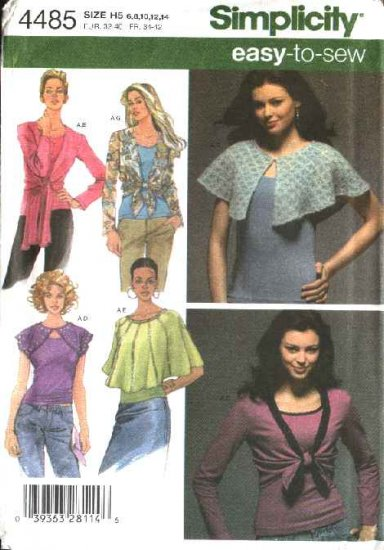 Simplicity Sewing Pattern 4485 Misses Size 6-14 Capelet Shrug Tank Top