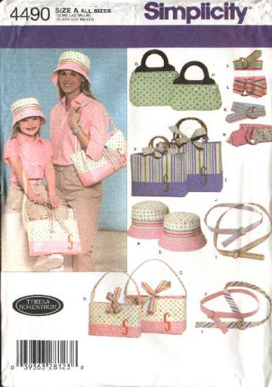 Simplicity Sewing Pattern 4490 Misses'/Girls' Bags  Hats Belts Totes Purses Bracelet