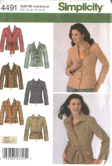 Simplicity Sewing Pattern 4491 Misses Size 14-22 Lined Front Button Jacket Blazer