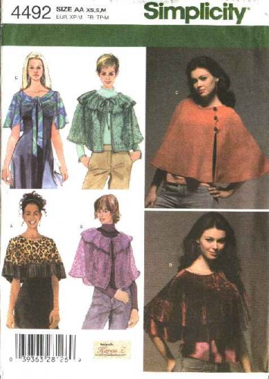 Simplicity Sewing Pattern 4492 Misses Size 6-16 Capelets