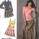 Simplicity Sewing Pattern 4499 Misses Size 6-8-10-12-14 Tiered Skirt Western Style Shirt Camisole