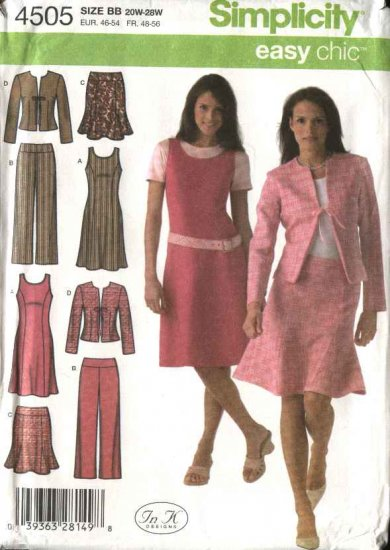 Simplicity Sewing Pattern 4505 Womans Plus Size 20W-28W Easy Wardrobe Jumper Skirt Jacket Pants