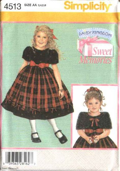Simplicity Sewing Pattern 4513 Girls Size 5-8 Daisy Kingdom Dress Capelet Wrap