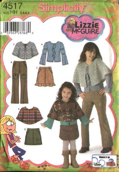 Simplicity Sewing Pattern 4517 Girls Size 7-14 Wardrobe Skirt Poncho Top Pants Capelet