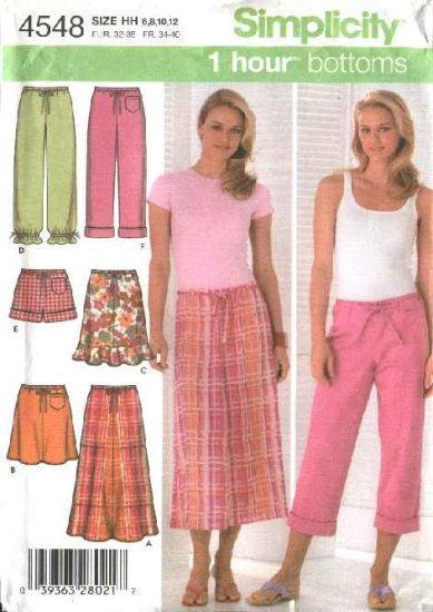 Simplicity Sewing Pattern 4548 Misses Size 6-8-10-12 Easy Skirts Pants Shorts