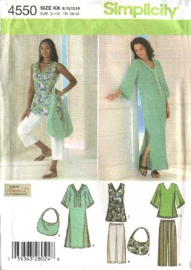 Simplicity Sewing Pattern 4550 Misses Size 16-24 Wardrobe Pants Dress Tunic Capris Purse Bag