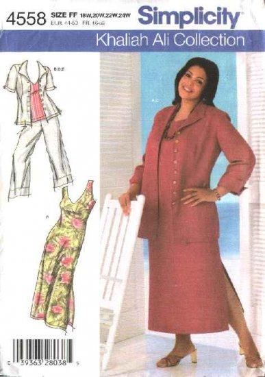 Simplicity Sewing Pattern 4558 Woman Plus Size 18W-24W Dress Top Jacket Cropped Pants Shirt