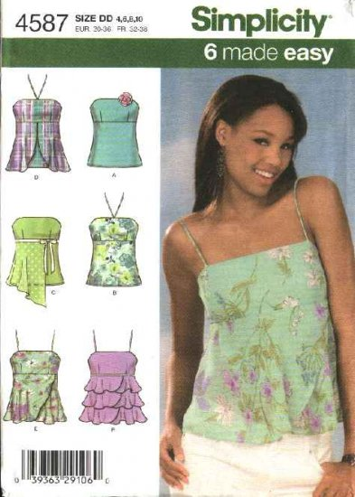 Simplicity Sewing Pattern 4587 Misses Size 4-6-8-10 Easy Strapless Spaghetti Strap Tops Layered