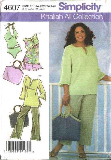 Simplicity Sewing Pattern 4607 Womans Plus Size 18W-24W Wardrobe Tunic Pants Shorts Bag Swimsuit