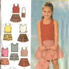 Simplicity Sewing Pattern 4611 Girls Size 3-4-5-6 Shorts Skirts Knit Tops Purse Bag