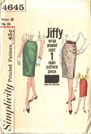 Simplicity Sewing Pattern 4645 Misses Size 8 Vintage 1954 Jiffy Wrap Skirt
