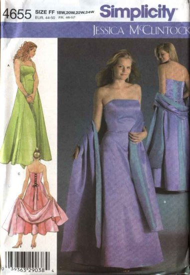 Simplicity Sewing Pattern 4655 Womans Plus Size 18W-24W Evening Gown Formal Dress Strapless
