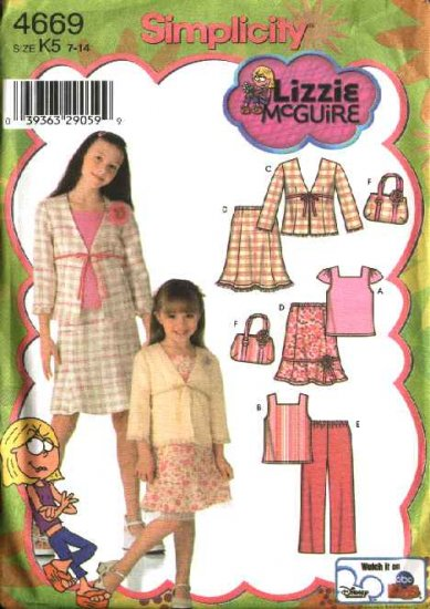 Simplicity Sewing Pattern 4669 Girls Size 7-14 Wardrobe Top Skirt Jacket Pants Bag Lizzie Mcguire