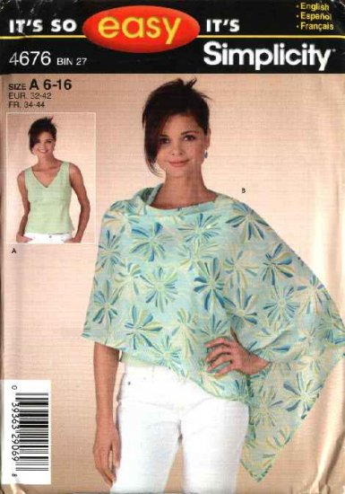 Simplicity Sewing Pattern 4676 Misses Size 6-8-10-12-14-16 Easy  Sleeveless Top Poncho