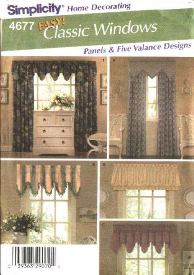 Simplicity Sewing Pattern 4677 Valance Curtain Panel Window Treatments