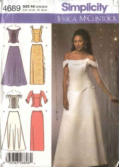 Simplicity Sewing Pattern 4689 Misses Size 8-14 Formal Top Skirt Two Piece Evening Gown