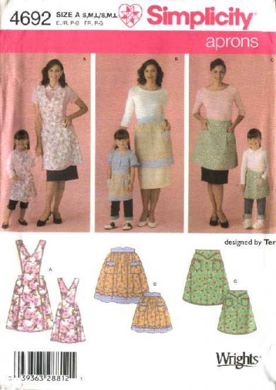 Simplicity Sewing Pattern 4692 Miss Girls Vintage Style Full Half Aprons