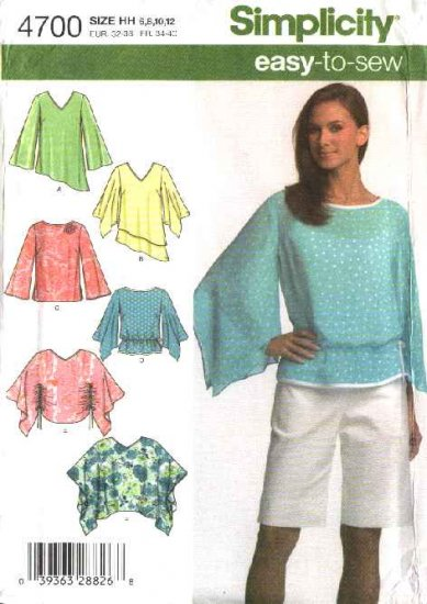 Simplicity Sewing Pattern 4700 Misses Size 6-8-10-12 Easy Loose Fitting Tops  Ponchos