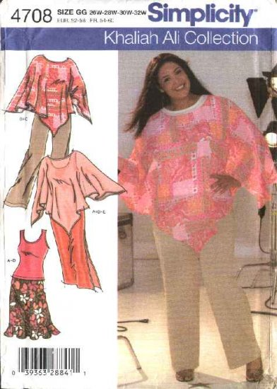 Simplicity Sewing Pattern 4708 Womans Plus Size 26W-32W Wardrobe Skirt Poncho Knit Top Pants