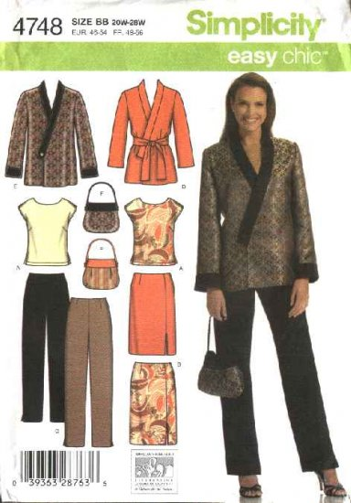 Simplicity Sewing Pattern 4748 Womans Plus Size 20W-28W Easy  Wardrobe Top Skirt Jacket Pants Purse