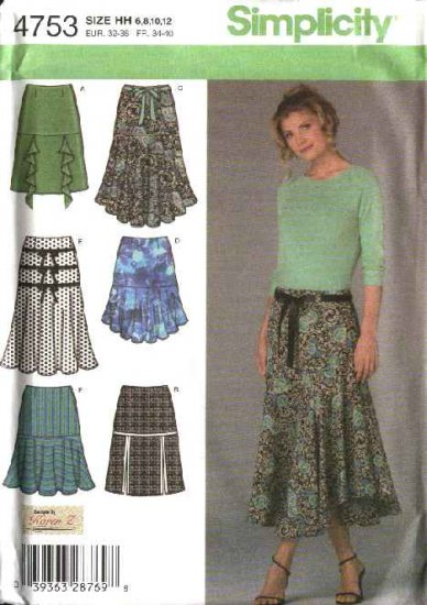 Simplicity Sewing Pattern 4753 Misses Size 6-8-10-12 Flared Ruffled Skirts
