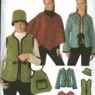Simplicity Sewing Pattern 4755 Misses Size 6-12 Easy Jacket Vest Poncho Hat Bag