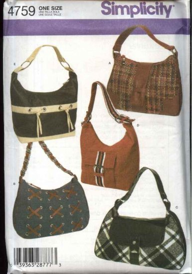 Simplicity Sewing Pattern 4759 Bags Purses Handbags Pocketbooks