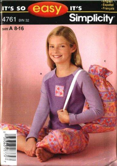 Simplicity Sewing Pattern 4761 Girls Size 8-16 Knit Top Pants Bag Pajamas