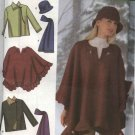 Simplicity Sewing Pattern 4783 Misses  Size 18-24 Easy Fleece Poncho Jacket Hat Scarf Mittens