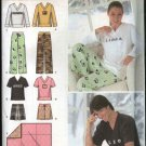 Simplicity Sewing Pattern 4798 Misses Mens XS-M Easy Pajamas Knit Tops Pants Shorts Blanket