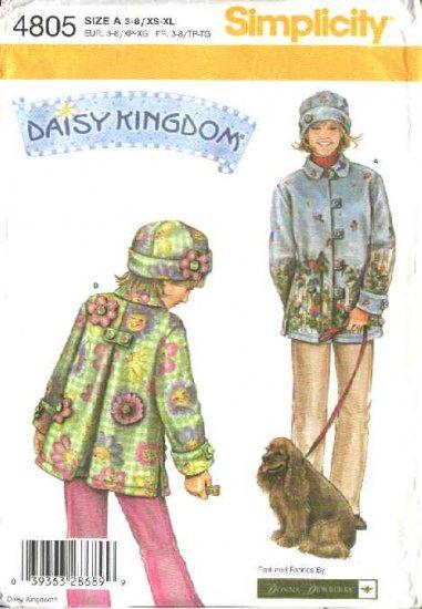 Simplicity Sewing Pattern 4805 Misses Size 6-24 girls Size 3-8 Daisy Kingdom Fleece Coat  Hat
