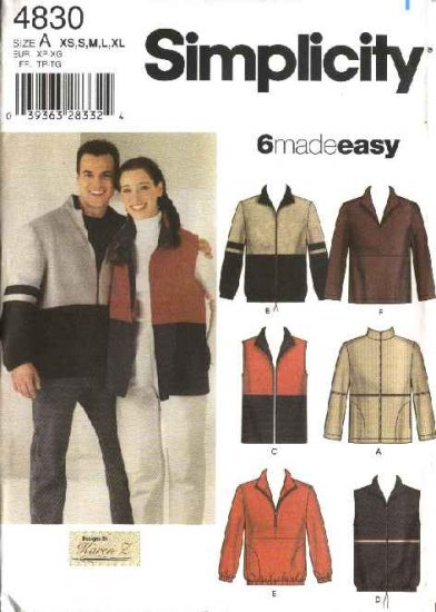 """Simplicity Sewing Pattern 4830 Misses Mens Size XS-XL Chest Size 30-48""""  Easy Jacket Vest Top"""