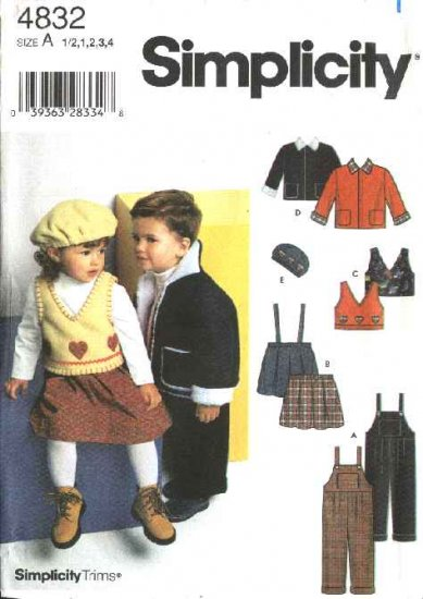 Simplicity Sewing Pattern 4832 Girls Boys Toddlers Size ½-4 Overalls Skirt Jacket Vest Hat