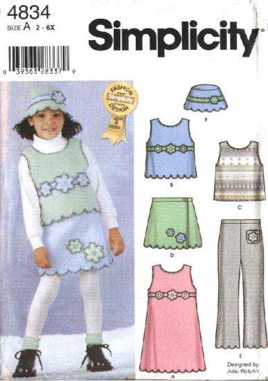 Simplicity Sewing Pattern 4834 Girls Size 2-6x Fleece Jumper Vest Skirt Pants Hat