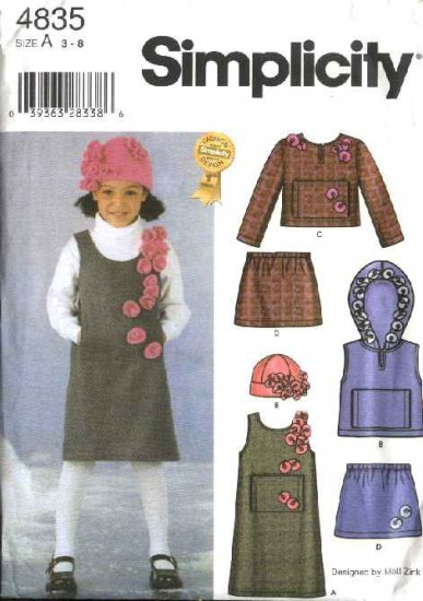 Simplicity Sewing Pattern 4835 Girls Size 3-8  Jumper Vest Top Skirt Hat