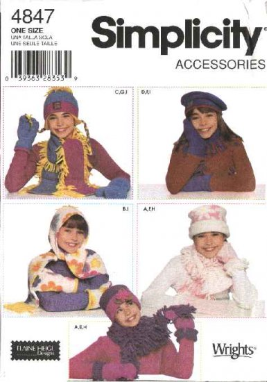 Simplicity Sewing Pattern 4847 Girls Fleece Hats, Scarves  Mittens Fashion Accessories