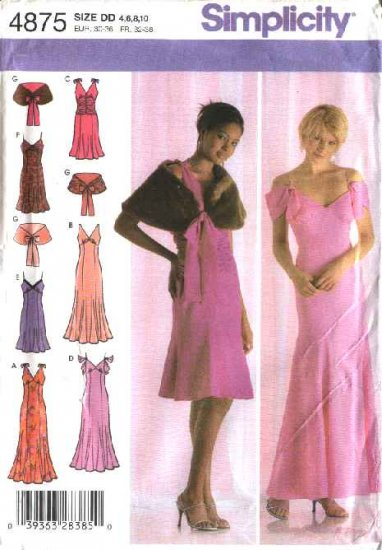 Simplicity Sewing Pattern 4875 Misses Size 4-10 Formal Long Short Dress Evening Gown Capelet Stole